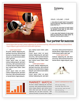 Fencing Newsletter Template, 02038, Sports — PoweredTemplate.com