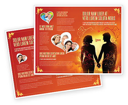 People: Couple Walking To Sunset Brochure Template #02058