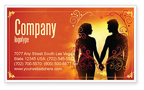 People: Couple Walking To Sunset Business Card Template #02058