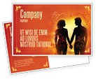 People: Couple Walking To Sunset Postcard Template #02058
