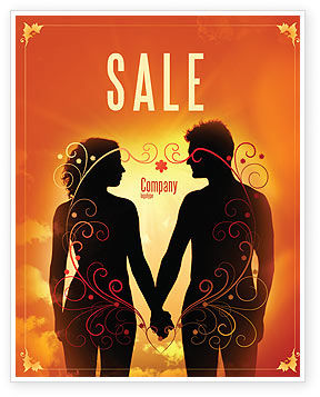 People: Couple Walking To Sunset Sale Poster Template #02058