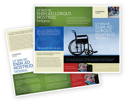 Handicapped Brochure Template, 02064, Medical — PoweredTemplate.com