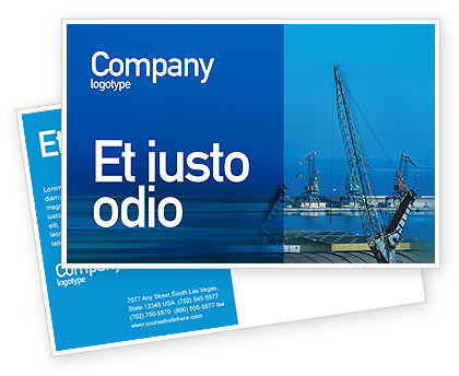 Port Postcard Template, 02081, Utilities/Industrial — PoweredTemplate.com
