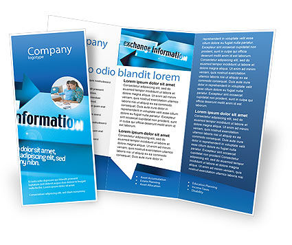 Information Exchange Brochure Template, 02125, Telecommunication U2014  PoweredTemplate.com  Information Templates