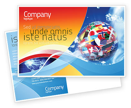 World Flags Postcard Template, 02153, Global — PoweredTemplate.com