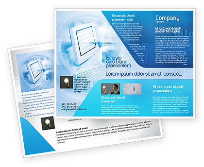 Digital computing technology brochure template design and for Electronic brochure templates