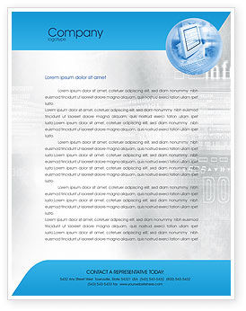Digital Computing Technology Letterhead Template, 02160, Technology, Science & Computers — PoweredTemplate.com