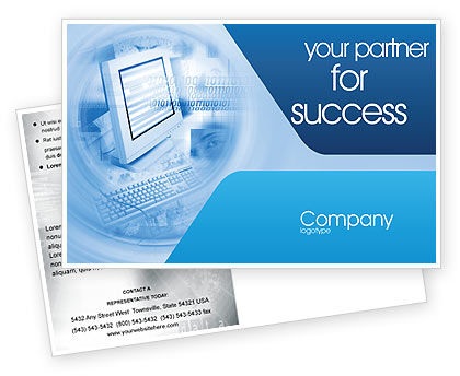 Technology, Science & Computers: 엽서 템플릿 - 디지털 컴퓨팅 기술 #02160