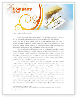Holiday/Special Occasion: Happy Anniversary Letterhead Template #02177