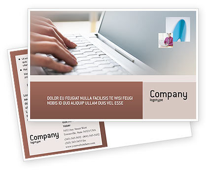 Technology, Science & Computers: Laptop Computer Postcard Template #02180