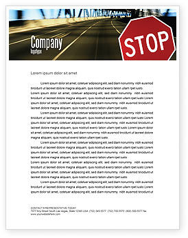 Road Sign Letterhead Template, 02198, Education & Training — PoweredTemplate.com