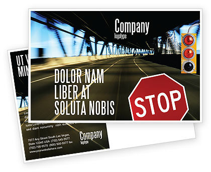 Road Sign Postcard Template, 02198, Education & Training — PoweredTemplate.com