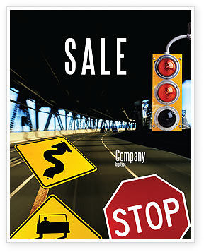 Road Sign Sale Poster Template, 02198, Education & Training — PoweredTemplate.com