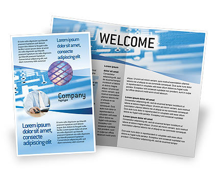 Microprocessor Brochure Template, 02205, Technology, Science & Computers — PoweredTemplate.com