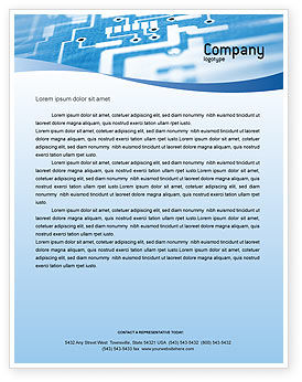 Technology, Science & Computers: Microprocessor Letterhead Template #02205
