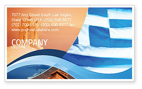 Flag of Greece Business Card Template, 02208, Flags/International — PoweredTemplate.com