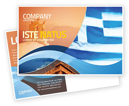 Flag of Greece Postcard Template, 02208, Flags/International — PoweredTemplate.com