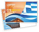Flags/International: Flag of Greece Postcard Template #02208