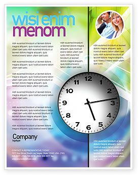 Clock Face Flyer Template, 02210, Business — PoweredTemplate.com