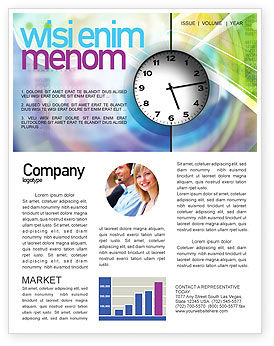 Clock Face Newsletter Template, 02210, Business — PoweredTemplate.com