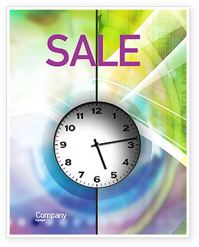 Clock Face Sale Poster Template, 02210, Business — PoweredTemplate.com