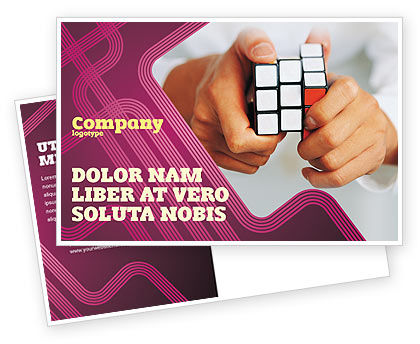 Business Concepts: Puzzle Rubik's Cube Postcard Template #02213