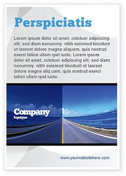 Highway In A Blue Distance Ad Template, 02214, Construction — PoweredTemplate.com