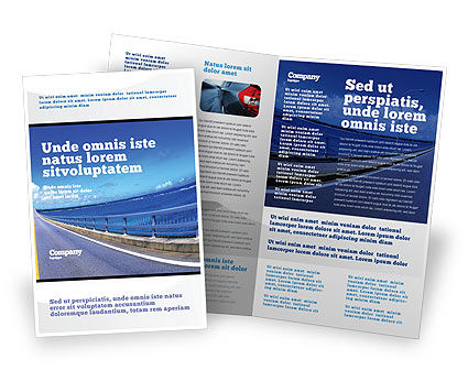 Highway In A Blue Distance Brochure Template, 02214, Construction — PoweredTemplate.com