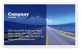 Construction: Highway In A Blue Distance Business Card Template #02214