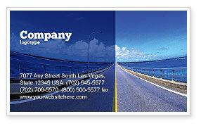 Construction: Plantilla de tarjeta de visita - carretera en una distancia azul #02214