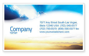 Religious/Spiritual: Blue Sky With Sunbeams Business Card Template #02216