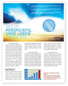 Religious/Spiritual: Blue Sky With Sunbeams Newsletter Template #02216