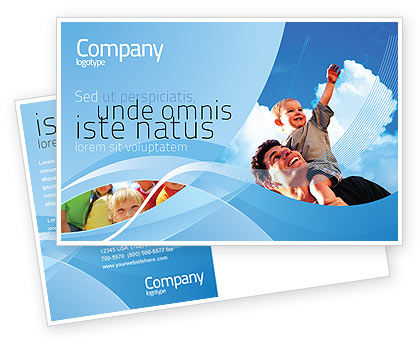 Father and Son Postcard Template, 02217, People — PoweredTemplate.com