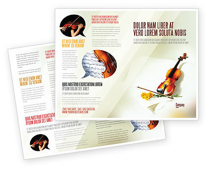 Violin And Yellow Flowers Brochure Template, 02225, Art & Entertainment — PoweredTemplate.com