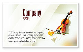 Art & Entertainment: Violin And Yellow Flowers Business Card Template #02225