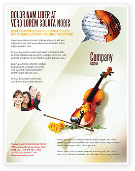 Art & Entertainment: Violin And Yellow Flowers Flyer Template #02225