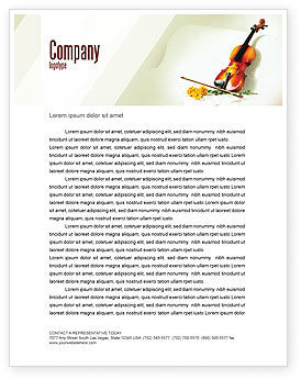 Art & Entertainment: Violin And Yellow Flowers Letterhead Template #02225