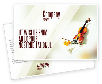 Art & Entertainment: Violin And Yellow Flowers Postcard Template #02225