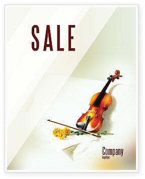 Art & Entertainment: Violin And Yellow Flowers Sale Poster Template #02225