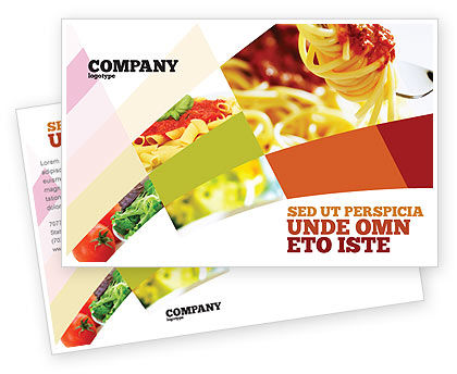 Italian Food Postcard Template, 02244, Food & Beverage — PoweredTemplate.com