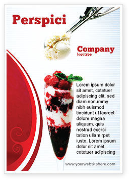 Food & Beverage: Raspberry Ice Cream Ad Template #02247