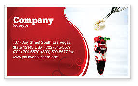 Food & Beverage: Raspberry Ice Cream Business Card Template #02247