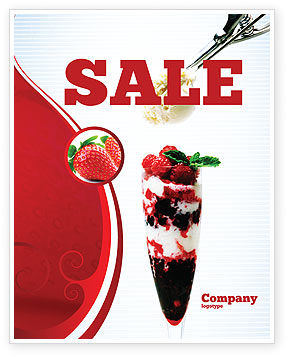 Food & Beverage: Raspberry Ice Cream Sale Poster Template #02247