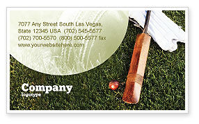 Cricket Field Business Card Template, 02251, Sports — PoweredTemplate.com
