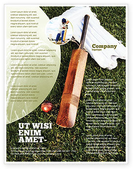 Cricket Field Flyer Template, 02251, Sports — PoweredTemplate.com