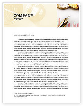 Financial Review Letterhead Template, 02260, Financial/Accounting — PoweredTemplate.com