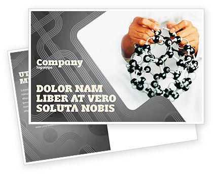 Technology, Science & Computers: Creation Of Fullerene Molecule Model Postcard Template #02267