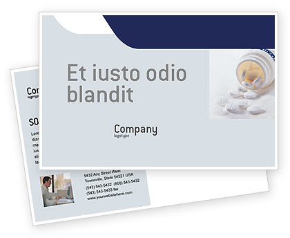 Medical: Bottle Of Tablets Postcard Template #02269