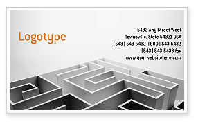 Business Concepts: Gray Labyrinth Business Card Template #02270