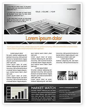 Gray Labyrinth Newsletter Template, 02270, Business Concepts — PoweredTemplate.com